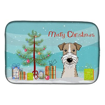 Christmas Tree and Wire Haired Fox Terrier Dish Drying Mat BB1619DDM