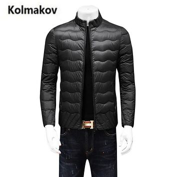 KOLMAKOV 2017 new winter high quality men's stand collar down jacket parkas ,90% white duck down warm coat,big size windbreaker