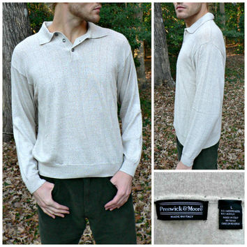 Made in Italy - Collared Sweater by Preswick & Moore - Soft Merino Wool Blend - Ribbed Beige - Men's