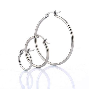 Simple 316L Stainless Steel Round Earrings Fashion Women Charm Ear Ring Jewelry 3 Size For Lady Gift Boucles doreilles