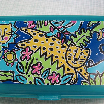 Vintage Sanrio Pencil Box early 1990s Jungle Scene Clear Teal Plastic with Removable Tray Organizer Kawaii Japan