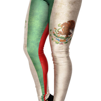 BadAssLeggings Women's Mexican Flag Leggings Medium