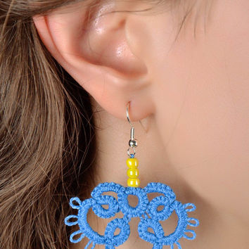 Handmade original lace earrings made using tatting technique fashion jewelry