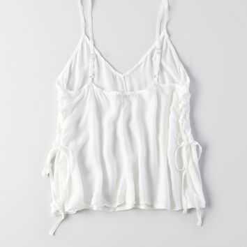 Don't Ask Why Flowy Lace-Up Vest White | American Eagle Outfitters - UK Website