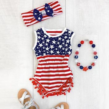 Baby Girls USA Flag Romper and Headband 2 pc. Set