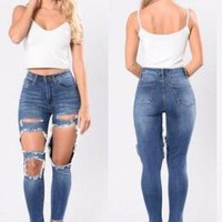 Blue Buttons Cut Out Pockets High Waisted Ripped Long Jeans
