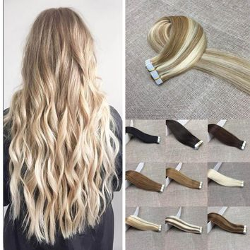 13 Color Available Straight Tape in Hair Extensions PU hair piece 14-24inch women Fashion 20pcs/set