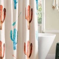 Cowgirl Kim Cactus Printed Shower Curtain