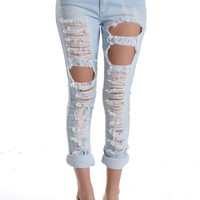 Blue Ice Destroyed Boyfriend Jeans