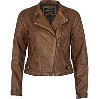 Brown leather look biker jacket - biker jackets - coats / jackets - women