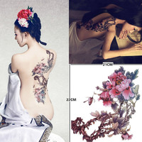 Peony Large temporary tattoos Back Waterproof temporary tattoos sticker