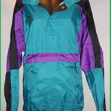 Vintage 80s Columbia Windbreaker Pullover Jacket Purple Teal Black Mens Small Neon Bright Hooded