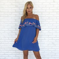 Linda Floral Embroider Dress in Blue