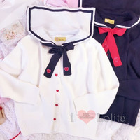 2 Colors Kawaii Sailor Collar Little Hearts Embroidery Sweater LK17081507 from lolita store