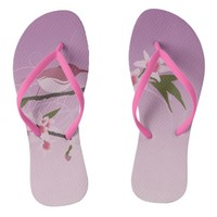 Mothers Day Flowers in Lilac, Burgundy, and Blue Flip Flops