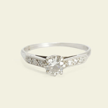 Deco Diamond Engagement Ring with Angled Shoulders