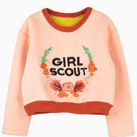 Girl Scout Embroidery Sweatshirt In Orange - Choies.com