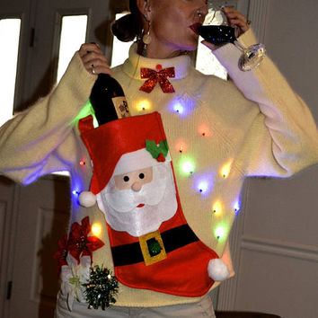 Wine Holder Ugly Christmas Sweater, Light up, Women's Medium (loose fit), stocking, alcohol, novelty, jumper, one of a kind, party pocket