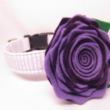 Dog Collar and Flower - CUSTOM Lavender Seersucker and Purple FELT Flower - cute dog collar, spring dog collar