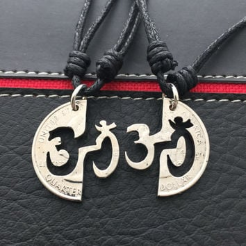 OM symbol interlocking necklaces, couples jewelry, his and hers pendants,meditation