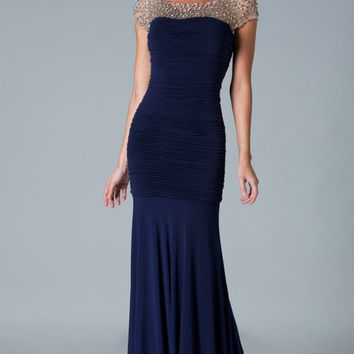 Navy Blue Prom Dresses Pleated Spandex Corset  Mother's Formal Gowns Plus Size Crystals Beaded Vestidos De Festa E21671