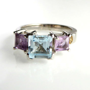 Size 6.5 Aquamarine & Amethyst Vintage Sterling Silver Ring