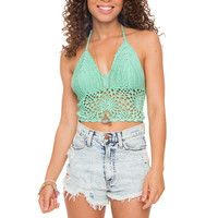 Janis Crochet Top - Mint