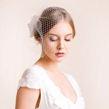 Birdcage Fascinator with Silk Flower - Bridal Birdcage Veil with Flower in Silk with Freshwater Pearls - Bridal Hairpiece, Wedding Hairpiece