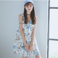 Floral Print V-Neck Sleeveless Ribbon Tie Skater Dress
