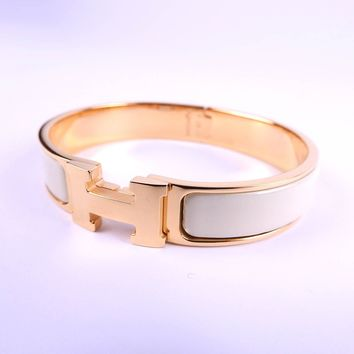 Auth HERMES Clic Clac PM H Bangle Bracelet Enamel White Gold Plated A-8140