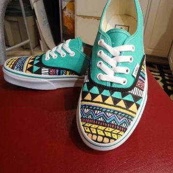 ICIKIJG Aztec/Tribal Vans (Shoes/ Sneakers - MADE TO ORDER)