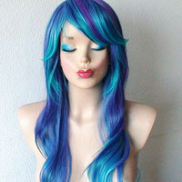 Spring Special // Purple Blue Ombre wig. Long curly hair with long side bangs wig. Cospaly wig. Lolita wig. Costume wig.