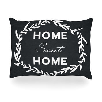 "KESS Original ""Home Sweet Home"" Black White Oblong Pillow"