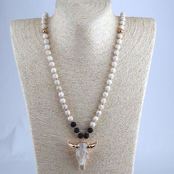 Free Shipping White & Lave  Stone Horn Pendant Ethnic Necklace Bohemian Tribal Jewelry