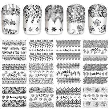 12 sheets water decal nail art nail sticker slider tattoo full Cover Black Flower Lace Designs A649-660