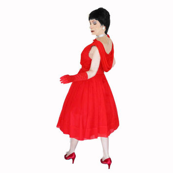 50s Vintage Red Holiday Dress with Full Skirt - 1950s Chiffon Party Dress - Back Drape - M