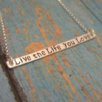 "Solid Sterling Silver 2"" Quote, Script Custom Made, Hand Stamped Personalized Bar Name Necklace"