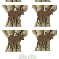 Park Design 970-75BC Moose Crackle Napkin Rings Set of 6 with 6-Pack of Tea Candles