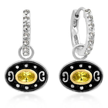 Carly 0.8ct Canary Yellow CZ White Gold Rhodium Antique Drop Earrings