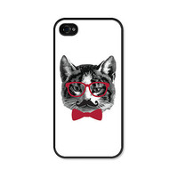 Cat iPhone 5 Case - Plastic iPhone 5 Cover - Funny iPhone 5 Skin - Red Black Mustache Glasses Bowtie Valentines - Valentines Day