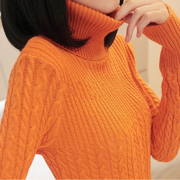 Fashion Spring And Autumn Women Turtleneck Sweater Solid Pullover Knitted Standard Long Sleeve Women Sweaters And Pullovers