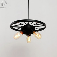 Black Small Wheel Vintage Industrial  Pendant Light with 3 Lights