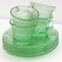 Green Depression Glass Depression Glass Green Glass by WhimzyThyme