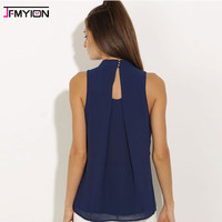 Women cotton Blouse fashion regular shirt top blouses sleeveless cropped shirts socail simple