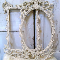 Vintage ornate frames off white Shabby cottage set of two hand painted distressed Anita Spero