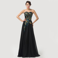 Strapless Peacock Feather Embellished Maxi Dress