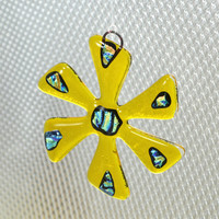 Yellow and Dichroic Glass Suncatcher or Ornament