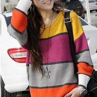 Winter New Arrival Korea Style Round Neckline Colormatching Long Sleeve Sweater  - Sammydress.com