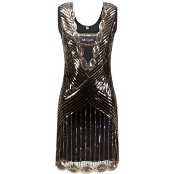 Women 1920s Gatsby Party Dress Vintage Flapper Girl Sequin Bead Sleeveless Deep V Back Backless Summer Dress Vestido De Fiesta