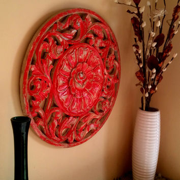 Rustic Antique Wall Panel of Reclaimed Wood Hand Carved Handmade - Ethnic Red